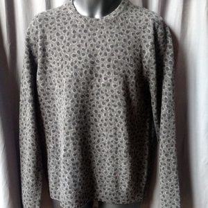 GUCCI Men's Gray/Black Leopard Print Wool/Cashmere
